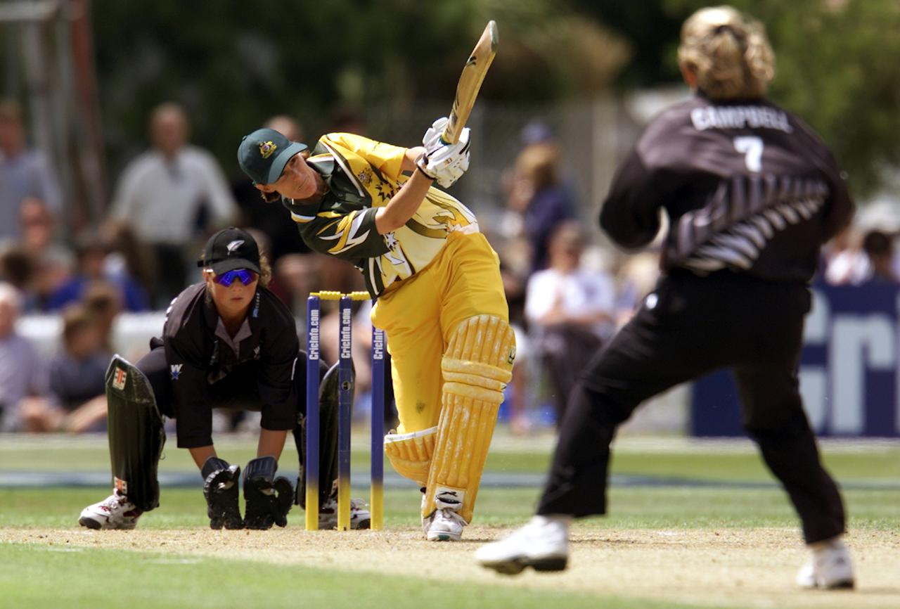 23 Dec 2000:  Australian captain Belinda Clark in action whilst scoring 91 during the New Zealand v Australia match in the Final of the 2000 CricInfo Womens Cricket World Cup played at BIL Oval, Lincoln, New Zealand. New Zealand defeated Australia by 4 runs. DIGITAL IMAGE. Mandatory Credit: Scott Barbour/ALLSPORT