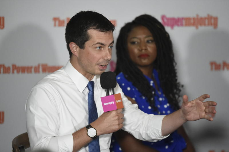 Democratic presidential candidate and South Bend, Indiana, Mayor Pete Buttigieg speaks Tuesday, Sept. 17, 2019, as organizer Alicia Garza, right, looks on during an event with Supermajority in Columbia, S.C. (AP Photo/Meg Kinnard)