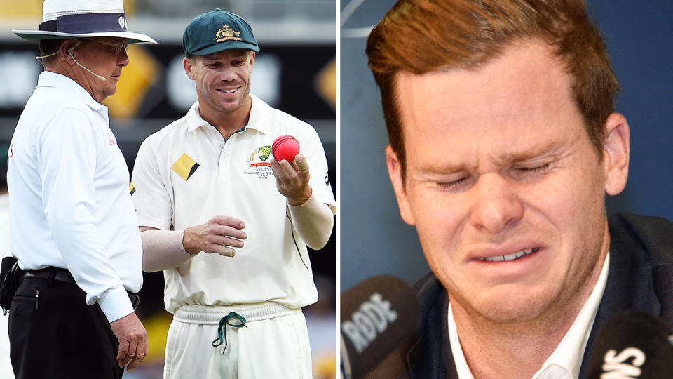Ian Gould, pictured here speaking to David Warner, and Steve Smith breaking down in tears over the scandal.