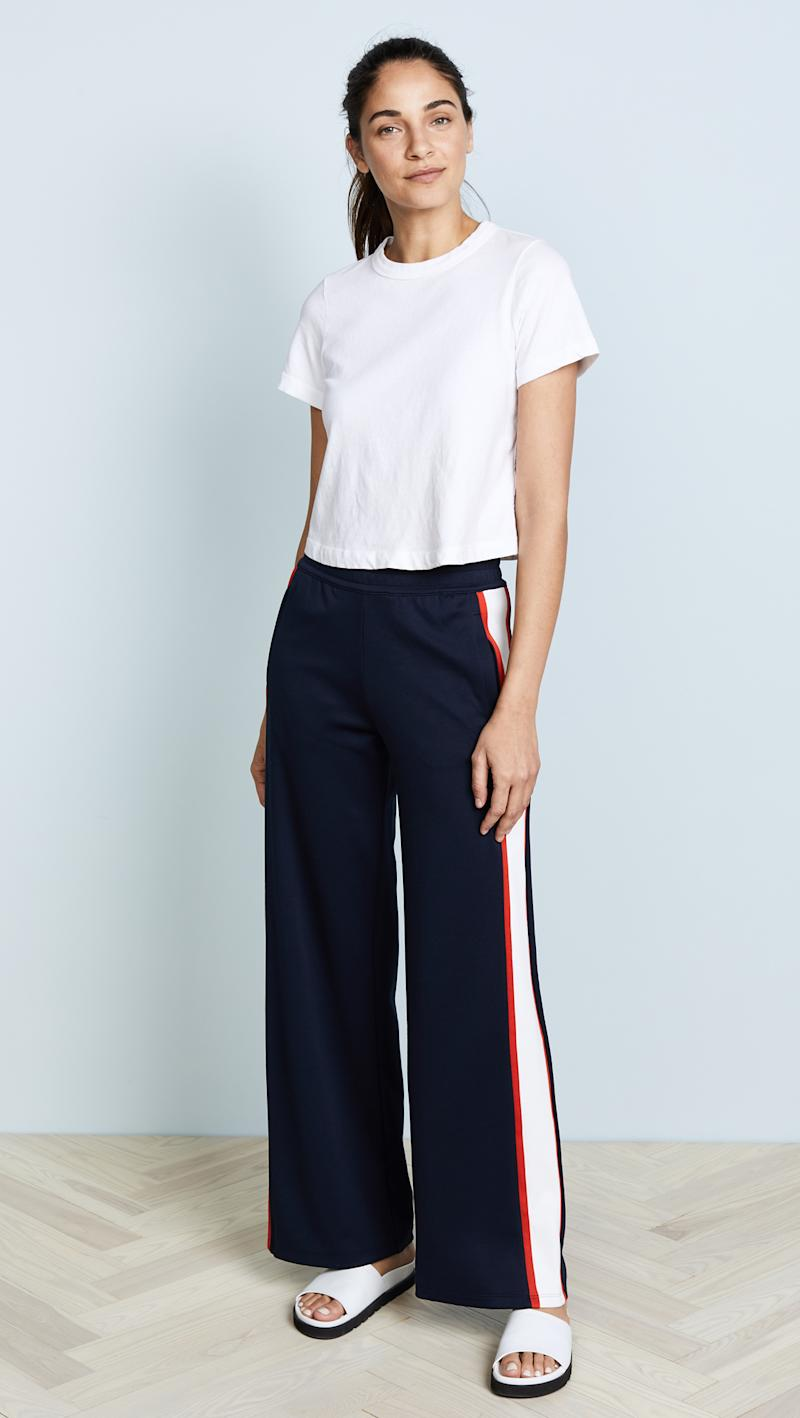 Tory Sport Wide Leg Track pants in tory navy snow