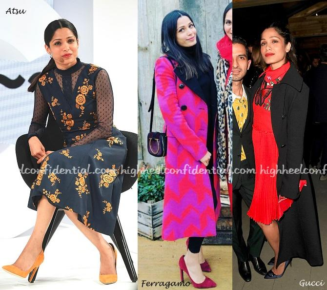At the ongoing Business Of Fashion (BOF) Voices event, Freida was seen in a few more looks. She spoke at a seminar on Saturday wearing an Atsu dress with yellow Rupert Sanderson pumps. On Saturday, she hung out with a friend wearing Ferragamo head to toe. On Thursday evening, she attended the opening night cocktail […]