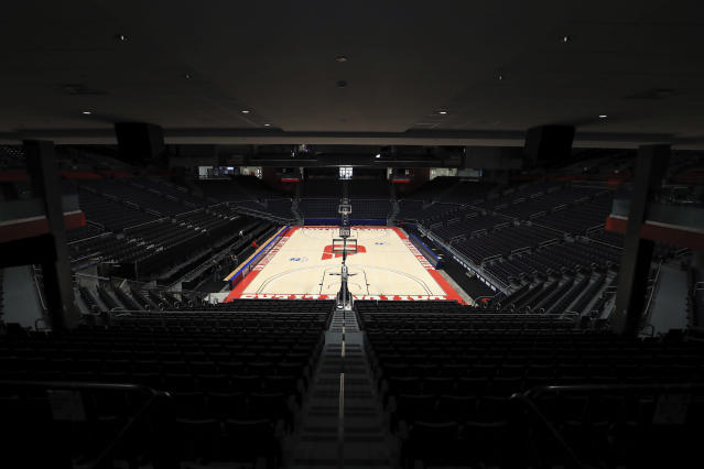 A general view inside the Dayton Arena, Friday, March 13, 2020, in Dayton, Ohio. The coronavirus outbreak has abruptly roused the University of Dayton from its dream of a basketball season. The 29-2 Flyers were rolling into tournament play on a 20-game winning streak that had lifted spirits in an Ohio city battered in the past year by violent deaths and devastation. The NCAA decision to cancel March Madness ended hopes for the small Roman Catholic school's first Final Four appearance in 53 years. (AP Photo/Aaron Doster)
