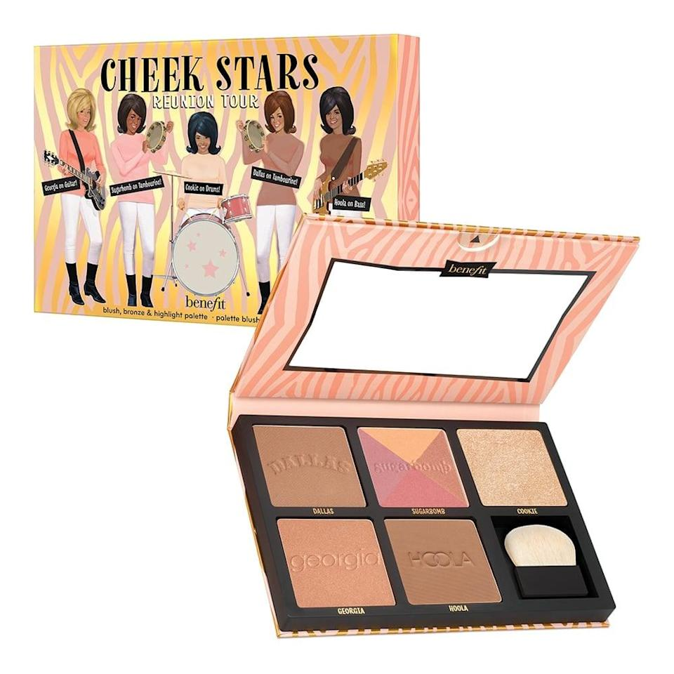 """<p>Get the brand's greatest hits all in one place with this <a href=""""https://www.popsugar.com/buy/Benefit-Cosmetics-Cheek-Stars-Reunion-Tour-Palette-584450?p_name=Benefit%20Cosmetics%20Cheek%20Stars%20Reunion%20Tour%20Palette&retailer=benefitcosmetics.com&pid=584450&price=69&evar1=bella%3Aus&evar9=47571081&evar98=https%3A%2F%2Fwww.popsugar.com%2Fbeauty%2Fphoto-gallery%2F47571081%2Fimage%2F47571367%2FBenefit-Cosmetics-Cheek-Stars-Reunion-Tour-Palette&list1=shopping%2Cmakeup%2Cbeauty%20products%2Csummer%2Csummer%20beauty%2Cbeauty%20shopping%2Cmakeup%20palettes%2Ceyeshadow%20palettes&prop13=api&pdata=1"""" class=""""link rapid-noclick-resp"""" rel=""""nofollow noopener"""" target=""""_blank"""" data-ylk=""""slk:Benefit Cosmetics Cheek Stars Reunion Tour Palette"""">Benefit Cosmetics Cheek Stars Reunion Tour Palette</a> ($69).</p>"""