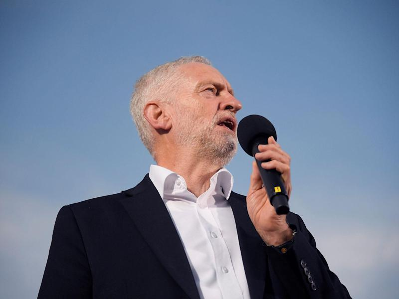Jeremy Corbyn addresses a rally ahead of the Labour Party Conference in Brighton: Reuters