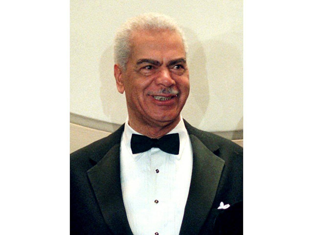 "FILE - In this Feb. 3, 1997, file photo, Earle Hyman poses before an induction to the Theater Hall of Fame at the Gershwin Theatre in New York. Hyman, a veteran actor of stage and screen who was widely known for playing Russell Huxtable on ""The Cosby Show,"" has died. Strohl, a representative for The Actors Fund, says that Hyman died Friday, Nov. 17, 2017, at the Lillian Booth Actors Home in Englewood, New Jersey. He was 91. (AP Photo/Ron Frehm, File)"