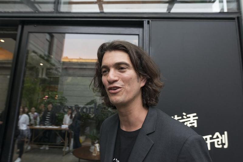 SHANGHAI, CHINA - APRIL 12: Adam Neumann, co-founder and chief executive officer of WeWork, speaks during a signing ceremony at WeWork Weihai Road flagship on April 12, 2018 in Shanghai, China. World's leading co-working space company WeWork will acquire China-based rival naked Hub for 400 million U.S. dollars. (Photo by Jackal Pan/Visual China Group via Getty Images)