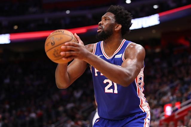 "Philadelphia 76ers center Joel Embiid pledged $500,000 to medical relief during the coronavirus outbreak and to help team employees who had to take paycuts. <span class=""copyright"">(Gregory Shamus / Getty Images)</span>"
