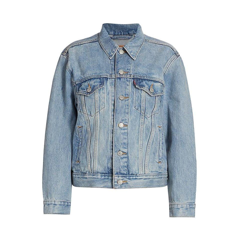 """<p><strong>Levi's</strong></p><p>amazon.com</p><p><strong>$55.65</strong></p><p><a href=""""https://www.amazon.com/dp/B08BJGFTLM?tag=syn-yahoo-20&ascsubtag=%5Bartid%7C10065.g.36791500%5Bsrc%7Cyahoo-us"""" rel=""""nofollow noopener"""" target=""""_blank"""" data-ylk=""""slk:Shop Now"""" class=""""link rapid-noclick-resp"""">Shop Now</a></p><p>Every celebrity from Zendaya to Gigi Hadid has been spotted in a Levi's denim jacket over the years. The brand's Ex-boyfriend Trucker style is a failsafe choice for its ever so slightly boxy fit that works well with everything. (I repeat: <em>Everything</em>.) <br></p>"""