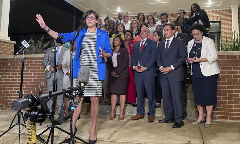 Texas state representative Jessica Gonzalez speaks during a news conference after house Democrats staged a walkout.