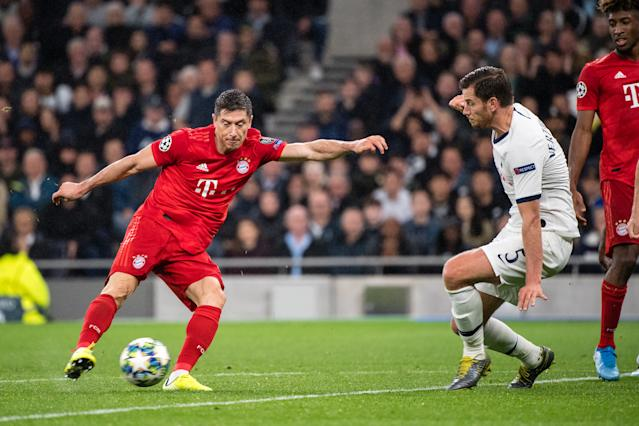 Lewandowski then fired the visitors in front on the stroke of half time. (Photo by Matthias Balk/picture alliance via Getty Images)