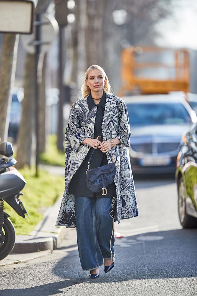 <p>Dress up your denim by adding an elegant coat and heels; suddenly your jeans will feel far more evening-appropriate. A wider, flared fit will also look more grown-up than your faded mom jeans. </p>