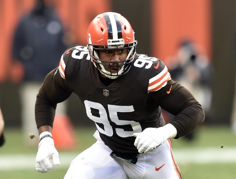 FILE - In this Nov. 15, 2020, file photo, Cleveland Browns defensive end Myles Garrett