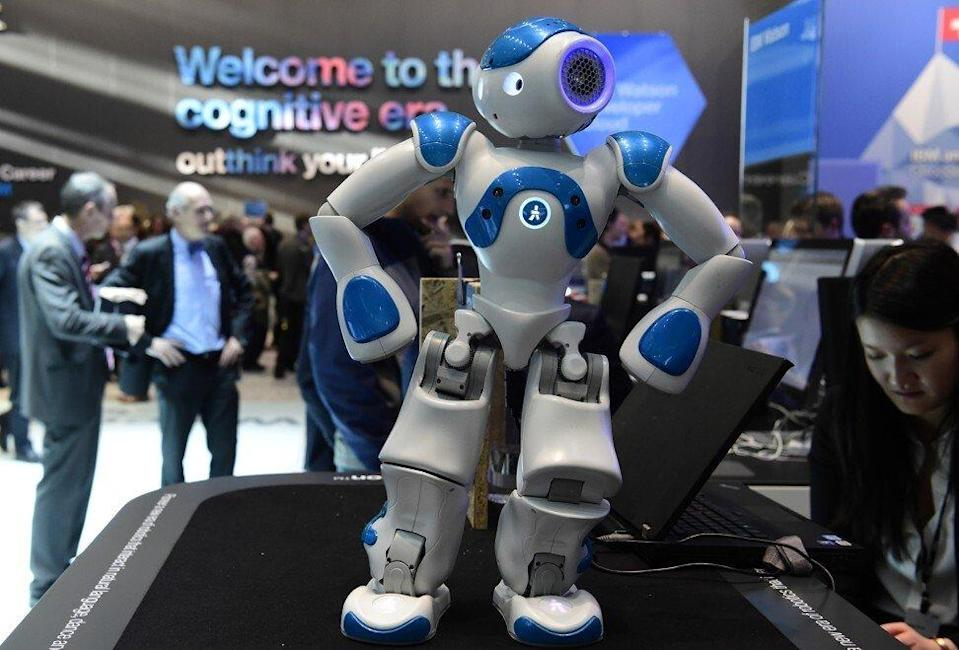 A small interactive robot from IBM's Watson AI department shows some moves at the digital business fair CEBIT in Hanover, Germany, on March 15, 2016. Photo: AFP