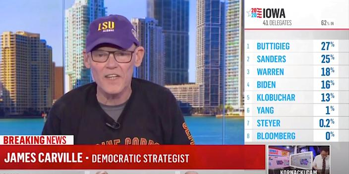 """Top Democratic Party strategist James Carville told MSNBC on Tuesday he is """"scared to death."""""""