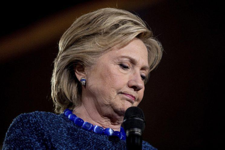 Hillary Clinton pauses while speaking at a rally in Des Moines, Iowa. (Photo: Andrew Harnik/AP)