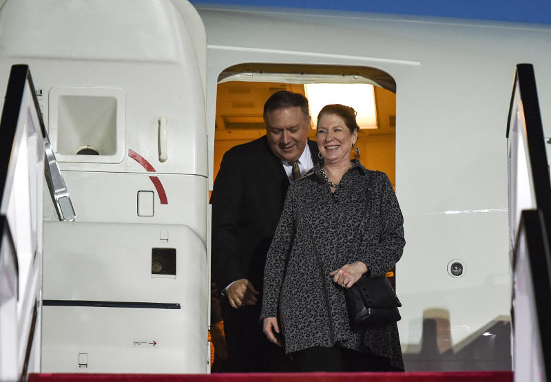 U.S. Secretary of State Mike Pompeo and his wife Susan arrive at Abu Dhabi International Airport in Abu Dhabi United Arab Emirates Friday Jan. 11 2019