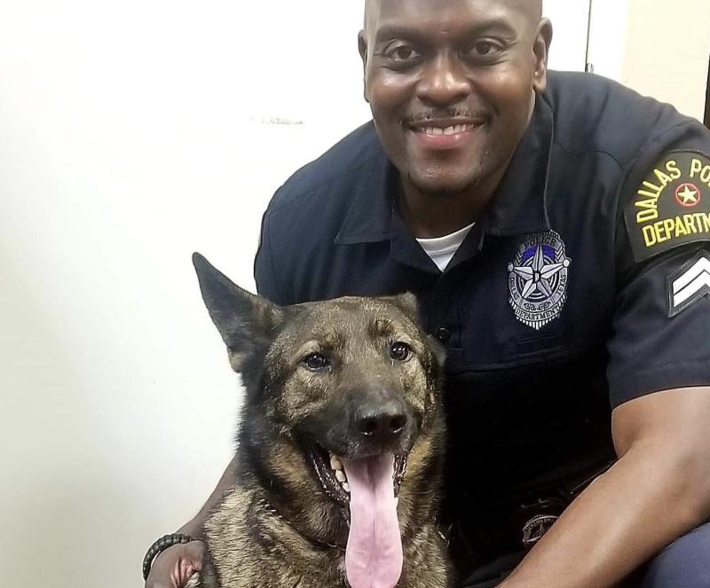 Dallas officer Andre Cloyd and his companion, Zigi, caused quite a stir on social media when their selfie went viral. (Photo: Andre Cloyd)