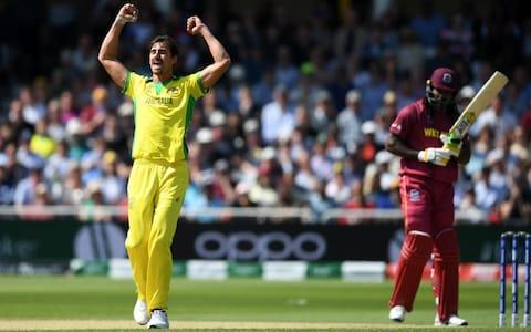 Mitchell Starc of Australia appeals successfully as he celebrates the wicket of Chris Gayle of West Indies - Credit: Getty Images