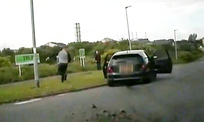 Dashcam footage of the police chase from where John Jamieson fled. (SWNS)