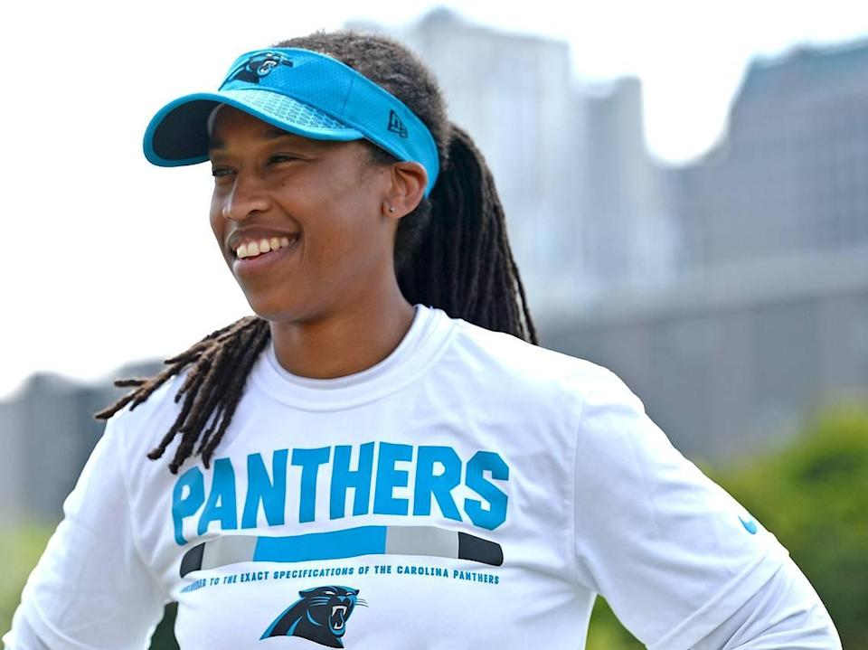 Panthers coaching intern Jennifer King was the first female coaching intern to be hired by Carolina. Head coach Ron Rivera wants to continue to expand opportunities for women in 2019.