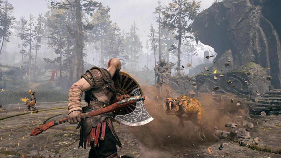 Of course, Kratos still battles a slew of monsters.