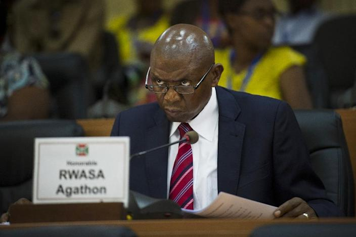 Burundi's main opposition leader, Agathon Rwasa at the opening session of the National Assembly in Bujumbura, on July 27, 2015 (AFP Photo/Phil Moore)