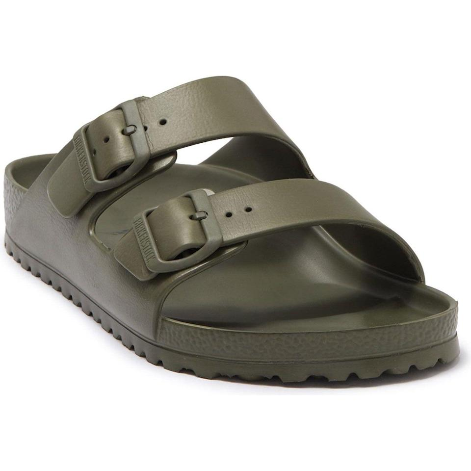 """<p><strong>Birkenstock</strong></p><p>nordstrom.com</p><p><strong>$44.95</strong></p><p><a href=""""https://go.redirectingat.com?id=74968X1596630&url=https%3A%2F%2Fwww.nordstrom.com%2Fs%2Fbirkenstock-essentials-arizona-waterproof-slide-sandal-men%2F3849422&sref=https%3A%2F%2Fwww.esquire.com%2Fstyle%2Fmens-fashion%2Fg36504642%2Fbest-new-menswear-may-21-2021%2F"""" rel=""""nofollow noopener"""" target=""""_blank"""" data-ylk=""""slk:Shop Now"""" class=""""link rapid-noclick-resp"""">Shop Now</a></p><p>Super lightweight, waterproof, and comfy right out of the box. EVA Birks are never not winning.</p>"""