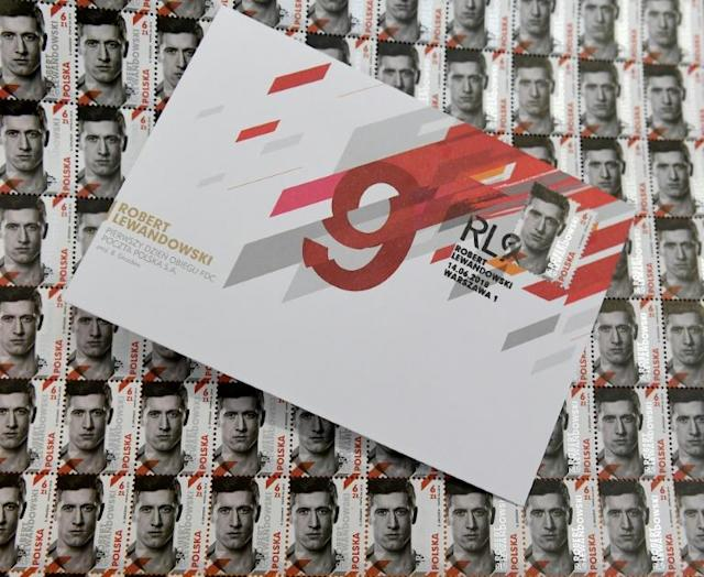 Poland striker Robert Lewandowski has it licked as he gets the stamp of approval from the Polish post office