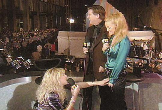 <p>The most exciting moment of the '95 VMAs actually took place offstage, once the show was over, when loose-cannon rock widow Courtney Love hijacked VJ Kurt Loder's perfectly civilized interview with elder stateswoman Madonna. (Courtney got Loder's attention by tossing her powder compact into the press pit.) A lesser pop star may have been intimidated by Courtney's crazy antics. But Courtney was no match for Madge, who in a refreshing change of pace came across as classy and totally non-controversial, smiling benignly while Courtney struggled to remain upright and babbled about Michael Stipe and Birkenstocks. This was live television at its finest. (Source: Yahoo Music) </p>