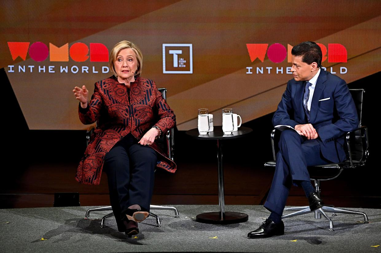 Hillary Clinton and Fareed Zakaria speak during the Women in the World Summit on April 12. (Photo: Mike Coppola/Getty Images)