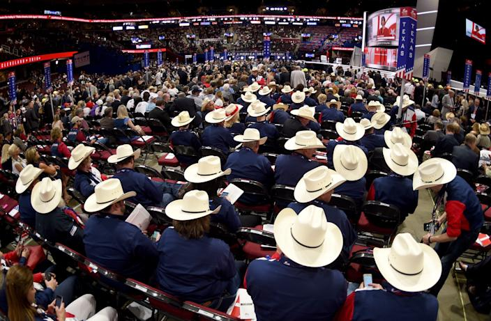 In this file photo taken on July 18, 2016, Texas delegates on the first day of the Republican National Convention at the Quicken Loans Arena in Cleveland, Ohio.