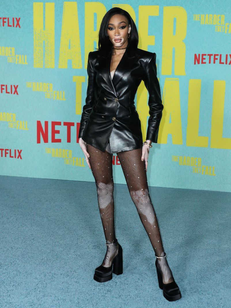 Winnie Harlow at the Los Angeles premiere of Netflix's 'The Harder They Fall' held at the Shrine Auditorium and Expo Hall on Oct. 13. - Credit: Xavier Collin/Image Press Agency/MEGA