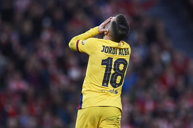 BILBAO, SPAIN - FEBRUARY 06: Jordi Alba of FC Barcelona reacts during the Copa del Rey quarter final match between Athletic Bilbao and FC Barcelona at Estadio de San Mames on February 06, 2020 in Bilbao, Spain. (Photo by Juan Manuel Serrano Arce/Getty Images)