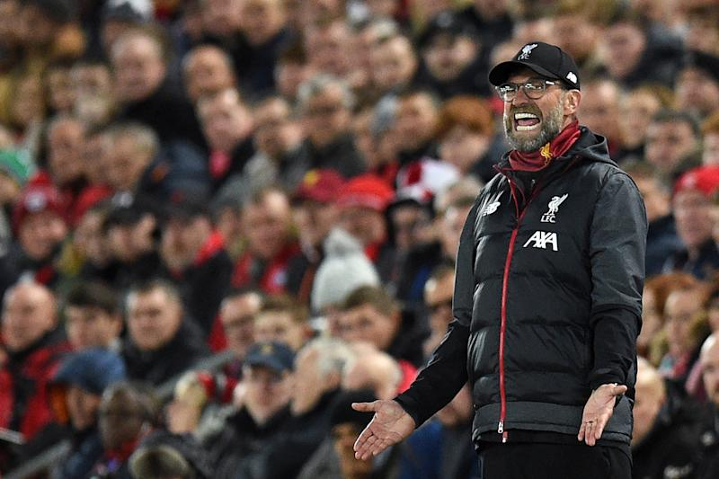 A frustrated Jurgen Klopp on the touchline. (Photo by Oli SCARFF / AFP) (Photo by OLI SCARFF/AFP via Getty Images)