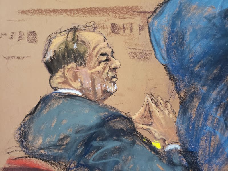 Film producer Harvey Weinstein watches as witness Mimi Haleyi is cross examined by lawyer Damon Cheronis during Weinstein's sexual assault trial