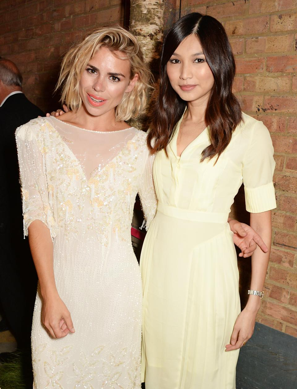 LONDON, ENGLAND - SEPTEMBER 18: Billie Piper (L) and Gemma Chan attend the Bright Young Things Gala 2014, a Young Patrons of the National Theatre gala event in support of emerging artists, at The National Theatre on September 18, 2014 in London, England. (Photo by David M. Benett/Getty Images)