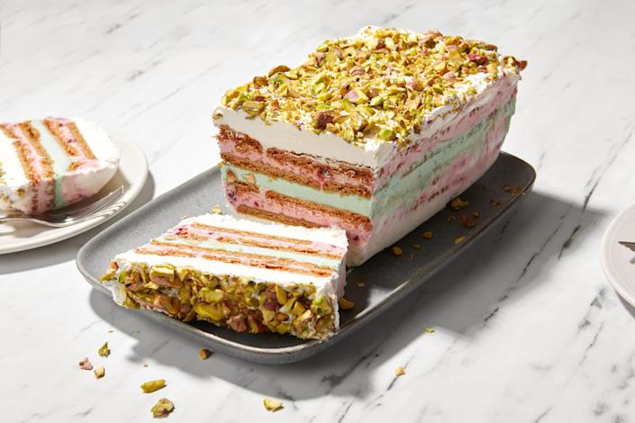 """Icebox cakes usually just involve some cookies and some whipped cream, but adding store-bought ice cream to the mix (and a little jam whipped into the whipped cream) is a whole new experience—and a lovely one. <a href=""""https://www.epicurious.com/recipes/food/views/easy-raspberry-pistachio-icebox-ice-cream-cake?mbid=synd_yahoo_rss"""" rel=""""nofollow noopener"""" target=""""_blank"""" data-ylk=""""slk:See recipe."""" class=""""link rapid-noclick-resp"""">See recipe.</a>"""