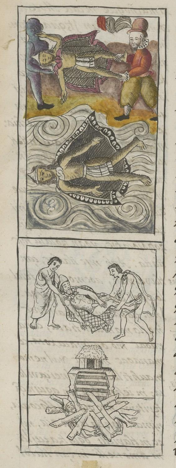 A detail from the Florentine Codex shows Spaniards disposing of the dead bodies of leaders Moctezuma and Itzquauhtzin