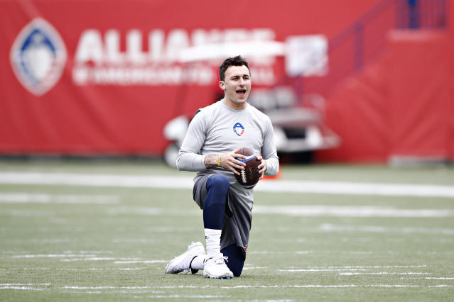 Johnny Manziel, who briefly tried to get people to call him John instead, is still trying to get back on the field after the AAF failed earlier this year. (Wesley Hitt/AAF/Getty Images)