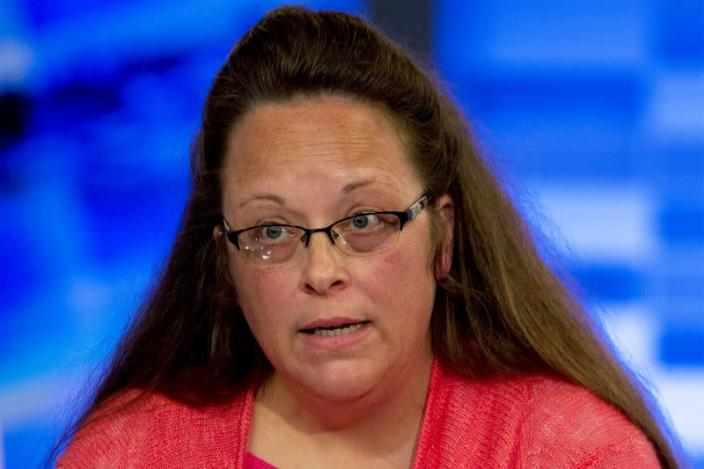 FILE PHOTO: Kentucky county clerk Davis speaks during an interview on Fox News Channel's 'The Kelly File' in New York