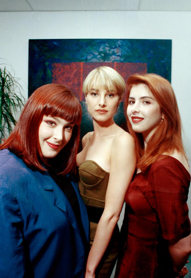 "Wilson Phillips, seen in Los Angeles in October 1990, is the first act, according to Billboard Magazine, to land two No. 1 singles in 1990.  ""Hold On"" and ""Release Me"" have been to the top of the list.  Band members are, from left, Carnie Wilson, Chynna Phillips, and Carnie's younger sister, Wendy Wilson.  (AP Photo/Sam Jones)"