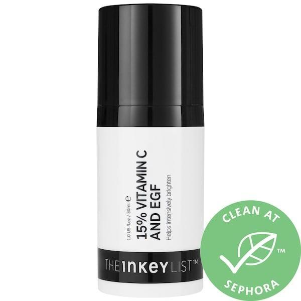 <p>Alongside vitamin C, <span>The Inkey List 15% Vitamin C and EGF Brightening Serum</span> ($15) features one-percent, plant-derived epidermal growth factor (EGF) to support skin's natural collagen and elastin.</p>