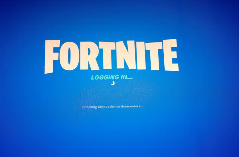 """The popular video game """"Fortnite"""" by Epic Games is pictured on a screen"""