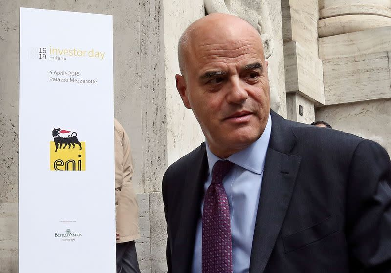 "FILE PHOTO: Eni CEO Descalzi arrives at the Milan's stock exchange for the ""Eni Investor Day\"