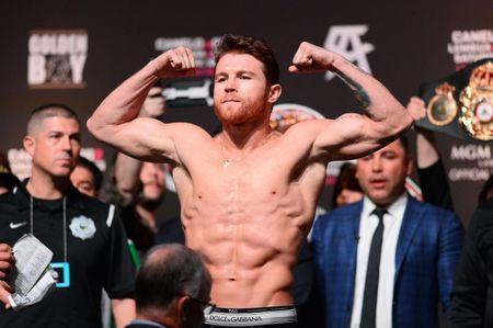 Sep 14, 2018; Las Vegas, NV, USA; Canelo Alvarez weighs in for a middleweight world title boxing match against Gennady Golovkin (not pictured) at T-Mobile Arena. Mandatory Credit: Joe Camporeale-USA TODAY Sports