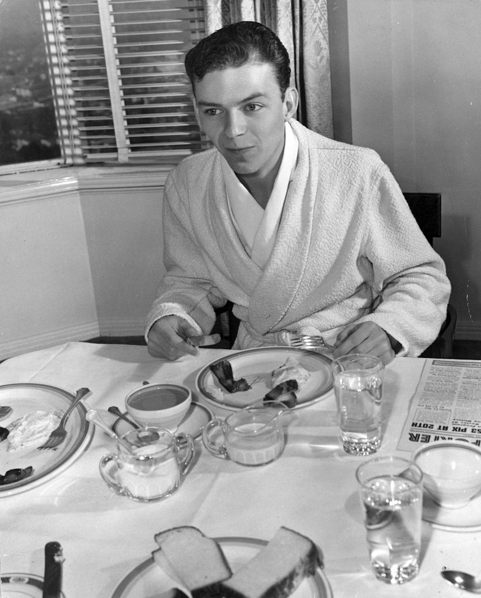 <p>Before releasing his debut solo album, <em>The Voice of Frank Sinatra</em>, in 1946, the would-be rat pack member got his start singing in clubs as a member of the Hoboken Four.</p>