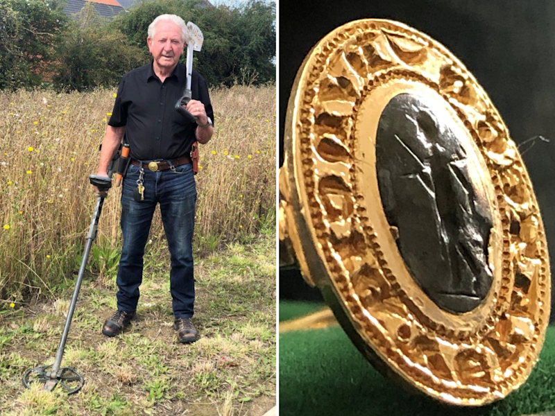 Metal detectorist Tom Clark, 81, discovered a ring he found on farmland near Aylesbury in 1979 is a rare fourteenth century gold ring worth up to £10,000: Hansons/SWNS