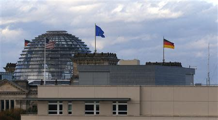 US embassy is pictured next to Reichstag building in Berlin