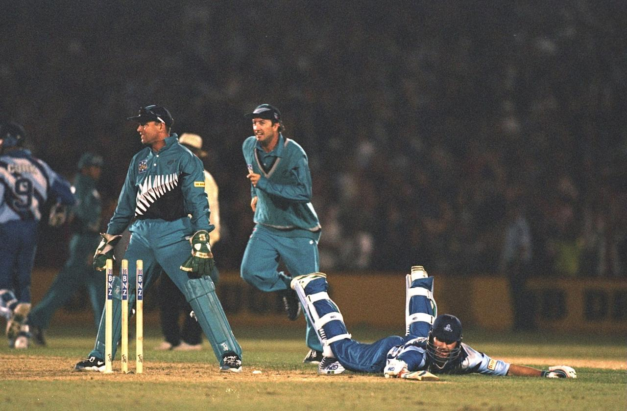 26 Feb 1997:  Craig White of England is run out during the third one day international against New Zealand at Napier, New Zealand. \ Mandatory Credit: Clive Mason /Allsport