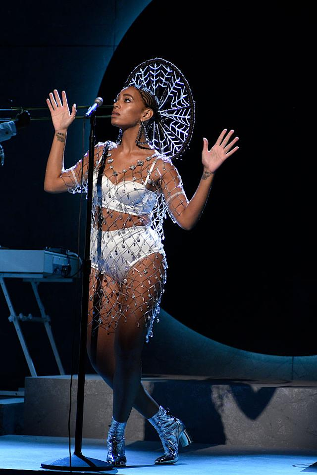 <p>Solange Knowles looked like an angel during her <em>SNL</em> performance in a La Perla Silk Flair lingerie set. (Photo: Getty Images) </p>